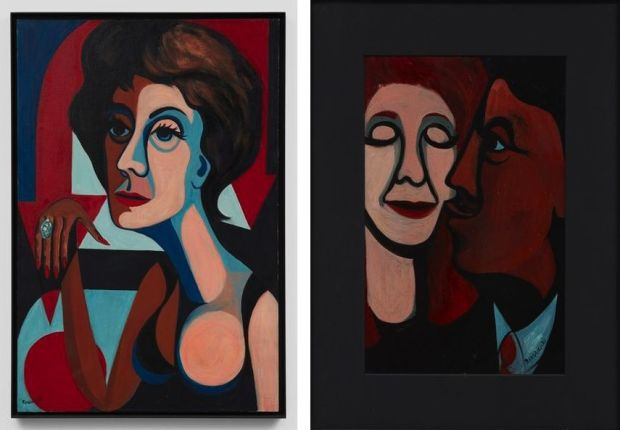 Left-Faith-Ringgold-American-People-9-The-American-Dream-1964-Right-Faith-Ringgold-A-Man-Kissing-His-Wife-1964